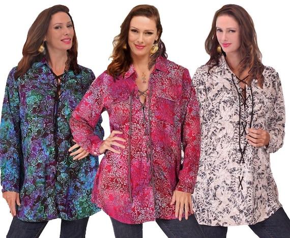 Button Down Gauzy Rayon Batik All Sizes D880 Asymmetrical Boho Blouse Shirt