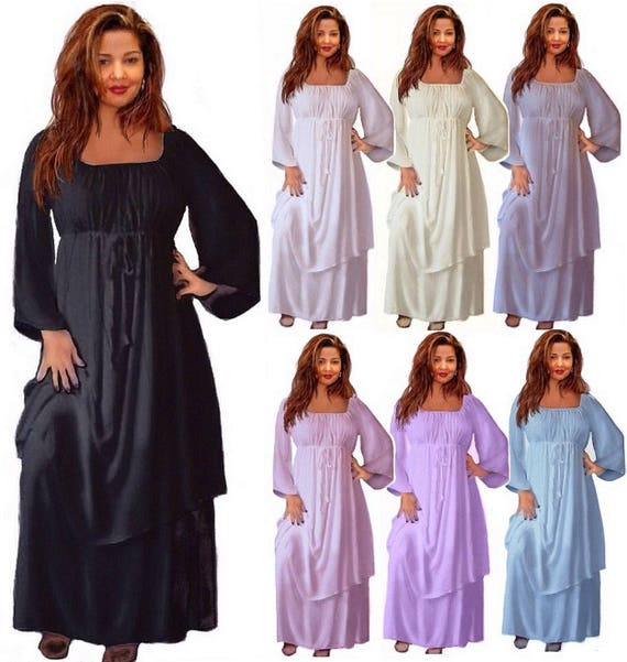 Renaissance Peasant maxi Dress Plus Size Bell Sleeve Layered Gypsy Empire Waist LotusTraders Made To Order J109