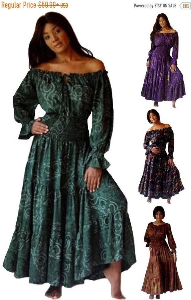 23 Storewide Sale U961 Batik Print Mexican Peasant Dress Etsy