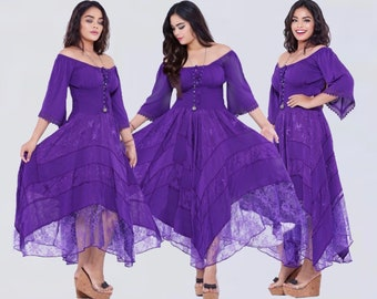 Boho Corset Maxi Dress Women Style Off On Shoulder Smocked Waist All Sizes LotusTraders Made To Order B5240