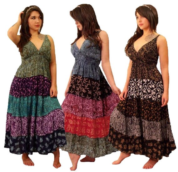 4644fe4715 Gypsy Maxi Long Dress Smocked Gauzy Batik Boho Festive Plus