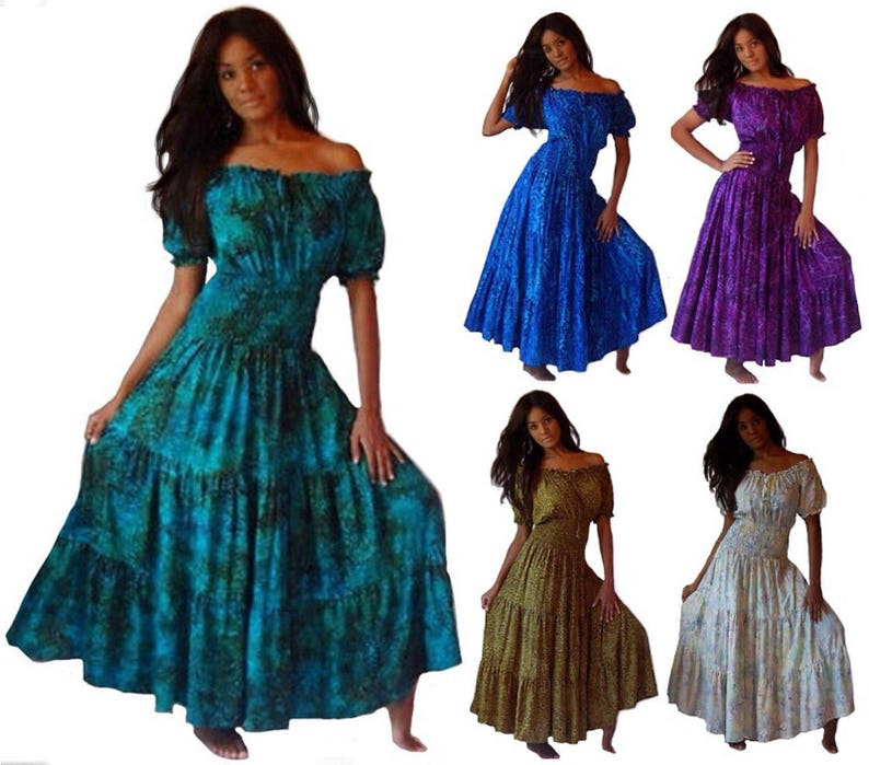 Boho Lagenlook Mexican Peasant Maxi Dress Short Sleeve Batik   Etsy