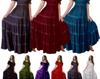 Cottagecore Fashion Mexican Peasant Dress - Gypsy Short Sleeve With Skirt Trim - LotusTraders G318 Made To Order Misses Plus Sizes