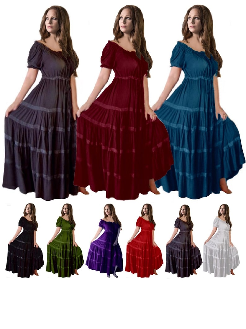 1d26f0894d3 Mexican Peasant Dress Gypsy Short Sleeve With Skirt Trim