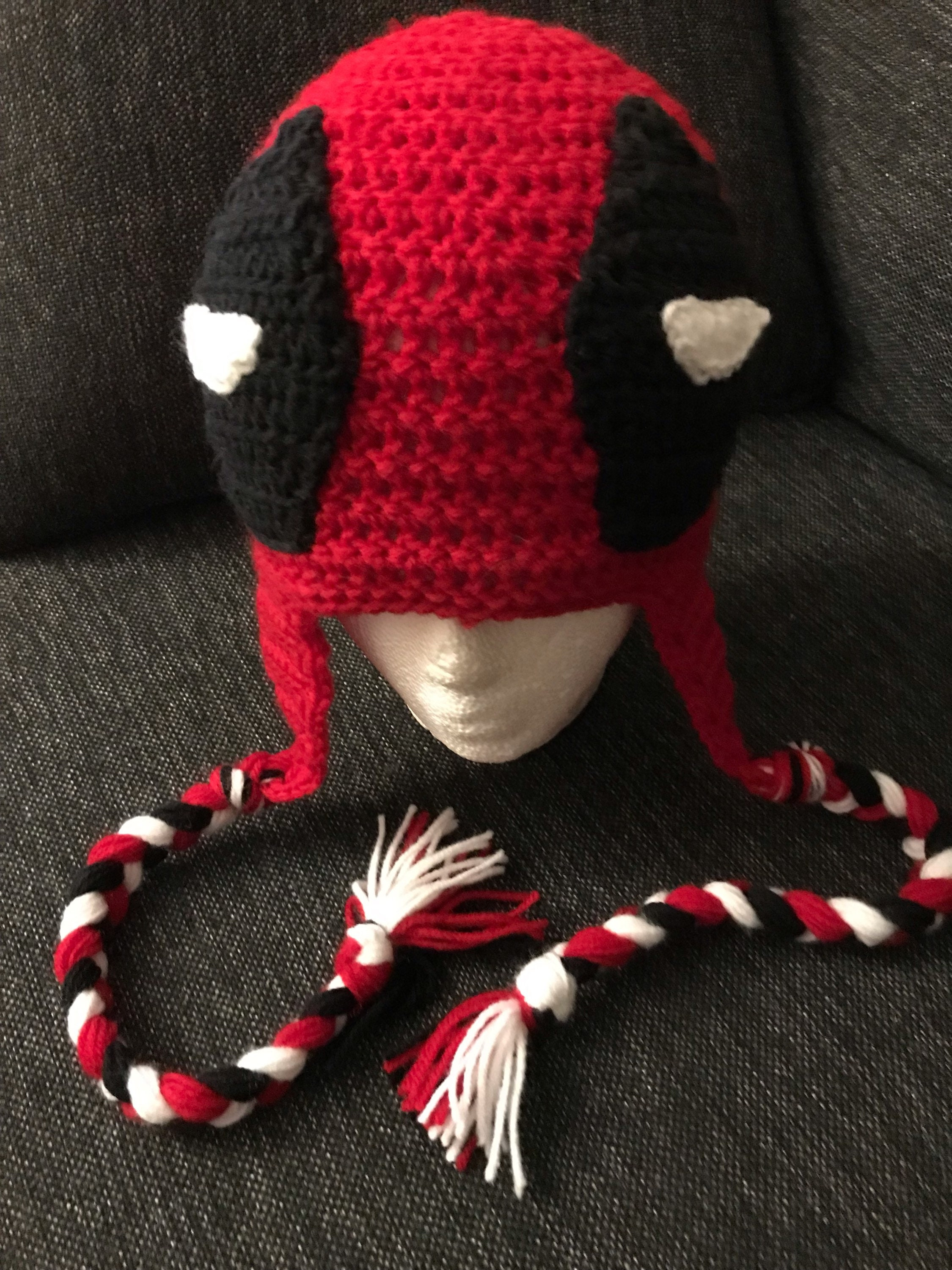 Deadpool inspired crochet hat  f2ddde404c6