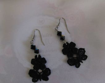 Earrings lace and black swarovski pearls