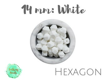 LOT of 10 or 25 - 14mm White Hexagon Teething Beads | DIY Silicone Bead Supplies |Chew Beads | BPA Free | Wholesale Loose Silicone Beads