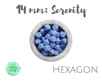 LOT of 10 or 25 - 14mm Serenity Hexagon Teething Beads | DIY Silicone Bead Supplies |Chew Beads | BPA Free | Wholesale Loose Silicone Beads