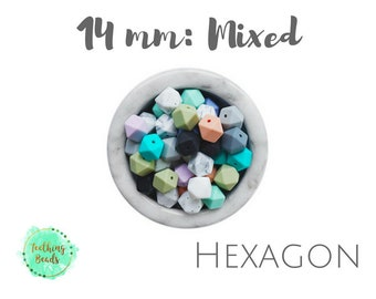 Lot of 50 - 14mm Hexagon Mix & Match Silicone Teething Beads | DIY Silicone Bead Supplies | Chew Beads | BPA Free | Wholesale Loose Silicone