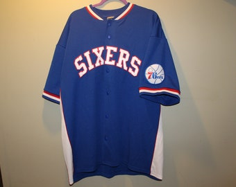 cdb4ae0f6 Vintage 76ers Sixers Majestic Hardwood Classics Warm up Jersey - Large