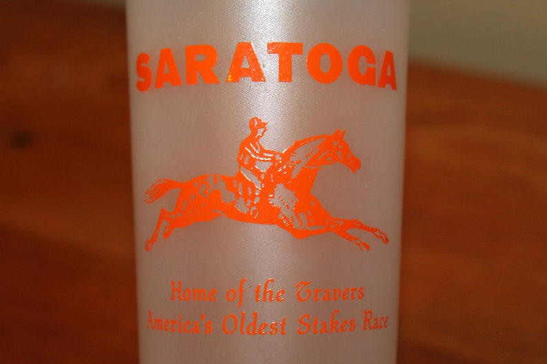 Vintage Saratoga Race Track Frosted Souvenir Glass Tumbler