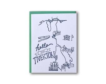 Hello from Tiverton, Rhode Island  A2 Letterpress Card