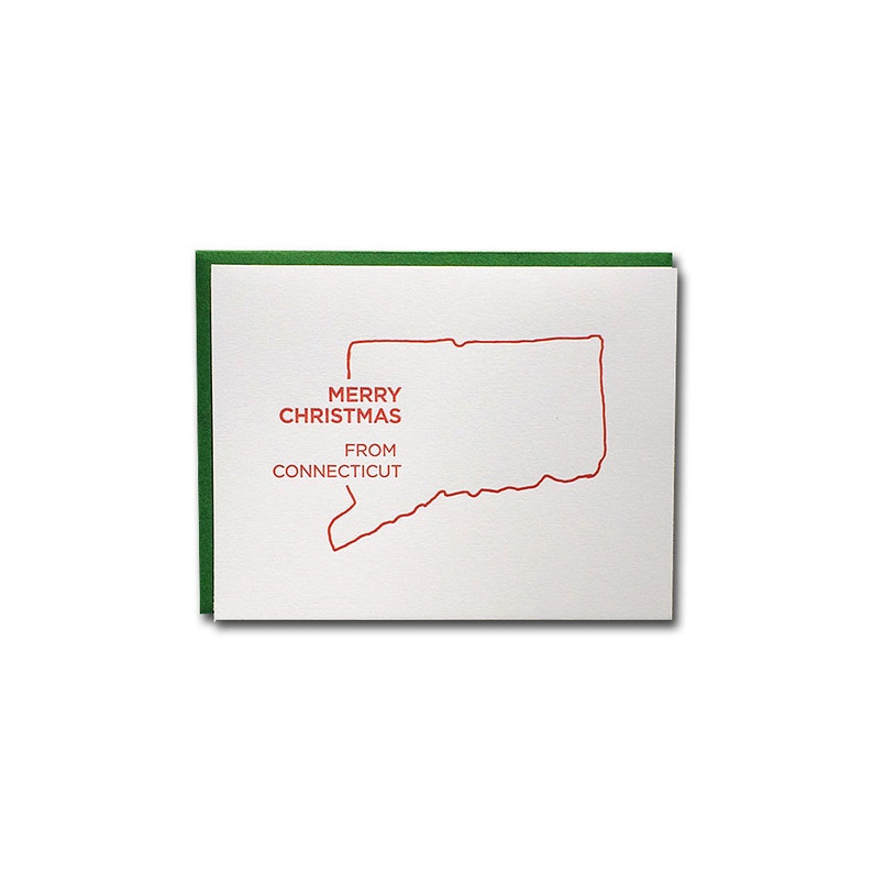 BOX OF 6 // Merry Christmas from Connecticut Letterpress Cards image 0