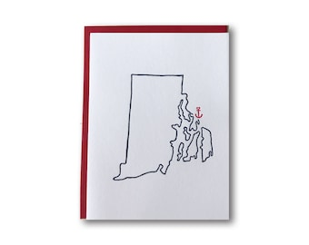 Drop your Anchor Series - Barrington, Rhode Island Anchor Outline Map Letterpress Card