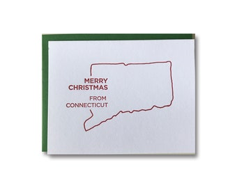 BOX OF 6 // Merry Christmas from Connecticut Letterpress Cards
