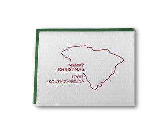 Merry Christmas from South Carolina A2 Letterpress Card