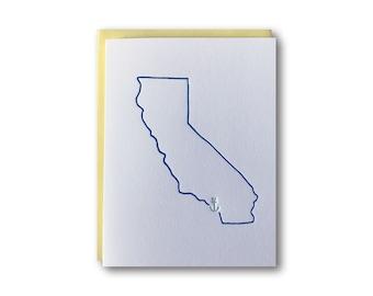 Drop your Anchor Series - San Diego, California Anchor Outline Map Letterpress Card