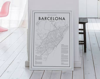 Barcelona Spain Map Poster, Spain Poster, Black & White Minimalistic Print Poster, Art, Home Art, Minimal Graphics, Map Home Decor
