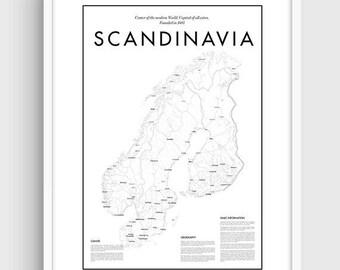 graphic regarding Scandinavia Map Printable titled Scandinavia map Etsy