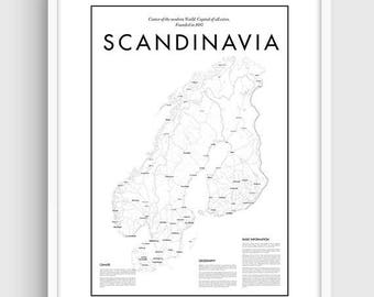 Scandinavia map | Etsy