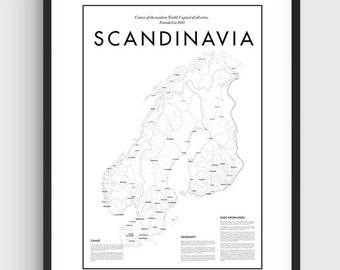 Scandinavian map | Etsy