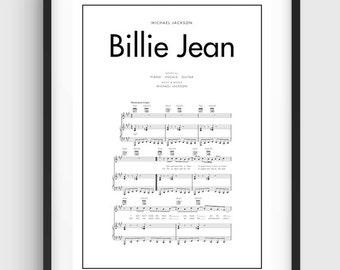 Michael Jackson Billie Jean Song Music Notes Poster Black White Minimal Print Art Home Graphics