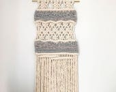 Small Macrame Wall Hanging/Tapestry/Weaving with Roving
