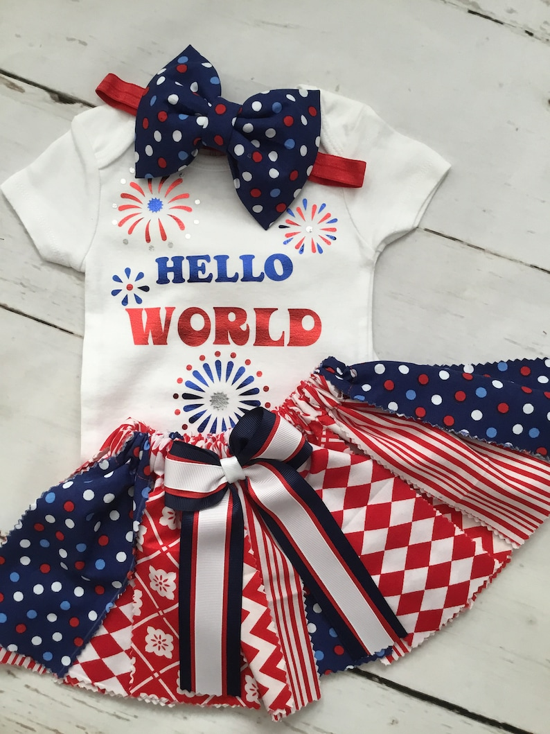 Patriotic Baby Girl Fabric Outfit First Photo Shoot Fabric Tutu Outfit Hello World OutfitNewborn First Outfit Baby Shower Gift