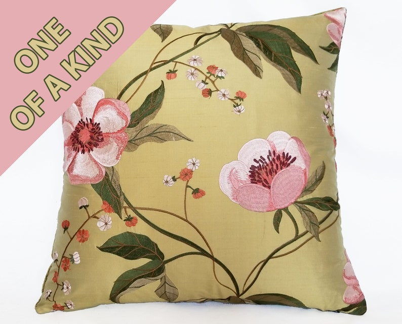 Embroidered Silk Pillow in Large Scale Pink and Green Floral with Contrasting Minuet Pure Silk Velvet in Heritage Green Reverse