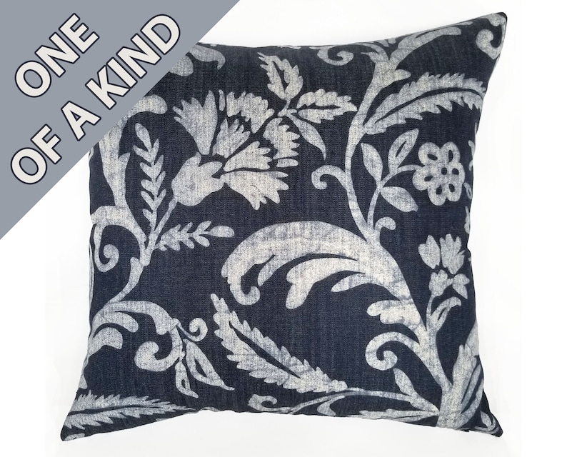 Batik Shibori Pillow in Navy Blue and White Large Scale Floral and Foliage with Herringbone Reverse Folbert Navy