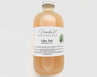 Organic Willow Bark Toner, 8 oz, Witch hazel toner, acne prone skin, salicylic acid toner, face toner, blemish prone skin