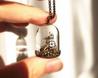 Steampunk Terrarium Necklace - Vintage Watch Gears in Glass Dome Bronze Necklace