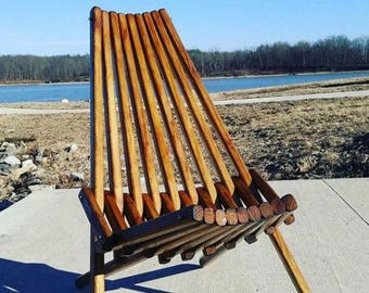 Outdoor Furniture, Patio Chair, Dark Walnut Finish, Accent Chair,  Adirondack Chair, Wood Folding Chair, Deck Furniture, Camping, Beach