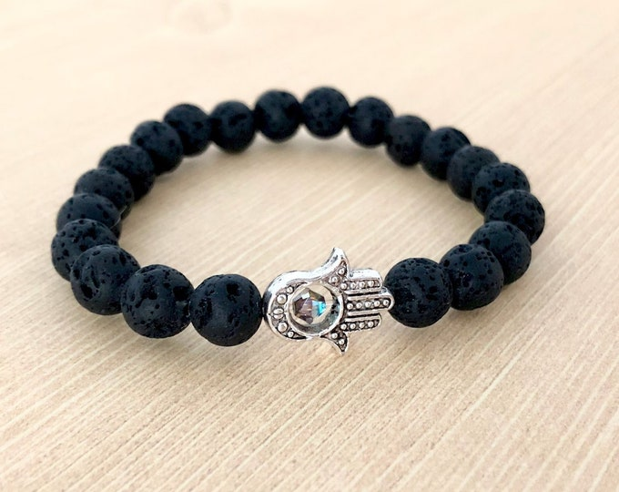 Silver Hamsa Black Lava Stone Bracelet