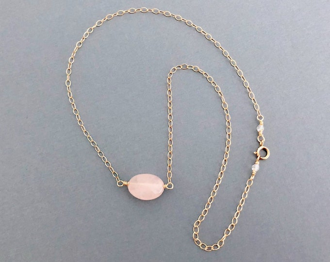 Rose Quartz Gold Necklace Gift for Mom