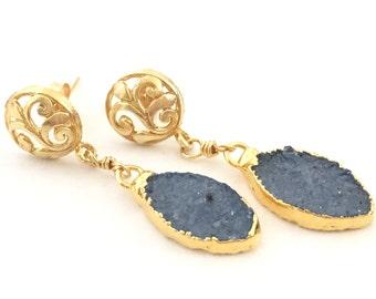 Dark Blue Druzy Gold Drop Earrings