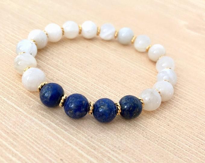 Lapis Lazuli Moonstone Gemstone Bracelet