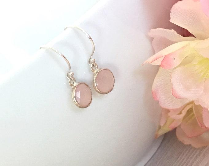 Dainty Rose Quartz Sterling Silver Earrings