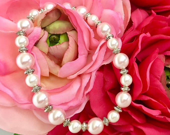 Pink and White Swarovski Pearl  Bracelet