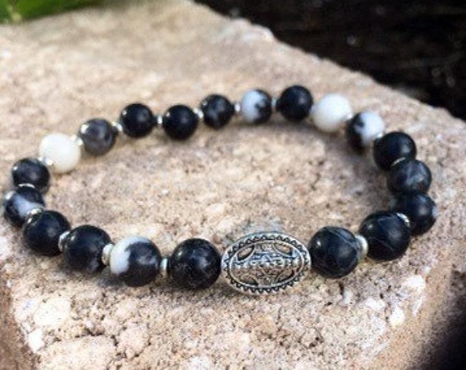 Zebra Stone Silver Plated Medallion Unisex Bracelet