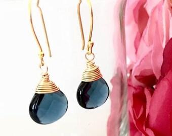 Wire Wrapped Teal Blue Glass Teardrop Earrings