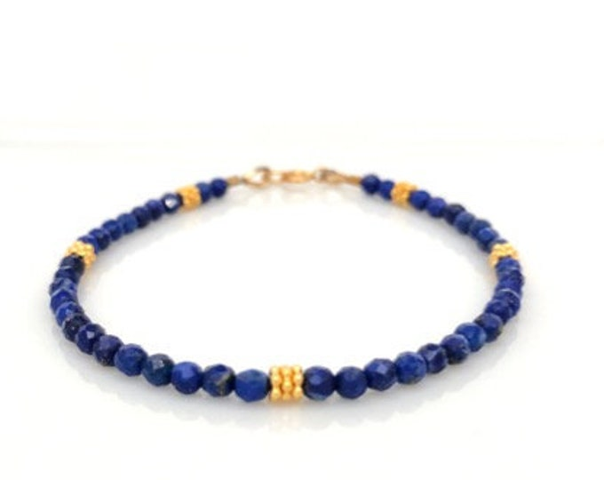 Tiny Lapis Lazuli Gemstone Bracelet