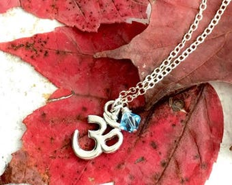 Silver Om Charm Necklace - Om Necklace Silver - Yoga Necklace for Women - Om Necklace - Yoga Jewelry Gift Wife - Yoga Gift - Om Jewelry