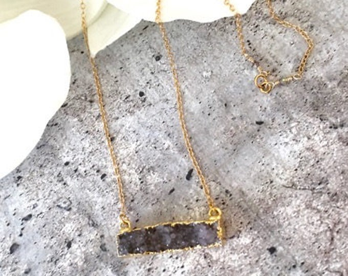 Druzy Bar Necklace Gold
