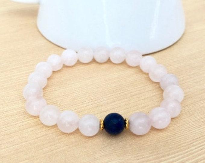 Gemstone Healing Bracelets for Women - Rose Quartz Yoga Jewelry - Rose Quartz Crystal Bracelets - Heart Chakra Jewelry Bracelet Gift