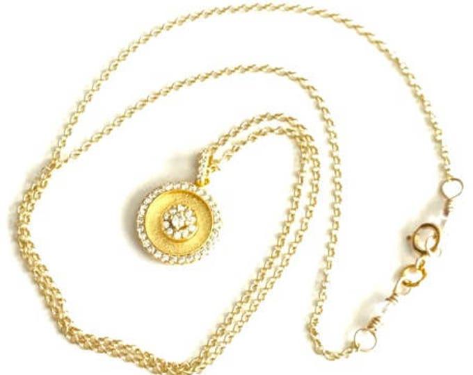 Gold Circle Pendant Necklace -  Gold Vermeil CZ Necklace -  Minimal Necklace Gold -  Circle Pendant Necklace -  Gold Pendant Chain Necklace