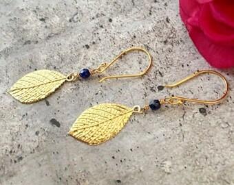 Dainty Gold Leaf Dangle Earrings