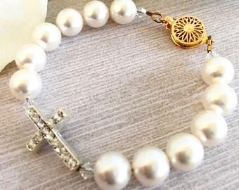 Swarovski Pearl Bracelet Rhinestone Cross Bridal Bracelet