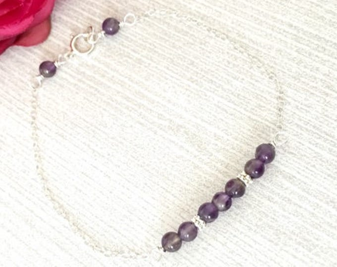 Amethyst Birthstone Bracelet - Birthstone Bracelet February - February Birthstone Jewelry -Dainty Amethyst Jewelry - Birthstone Bar Bracelet