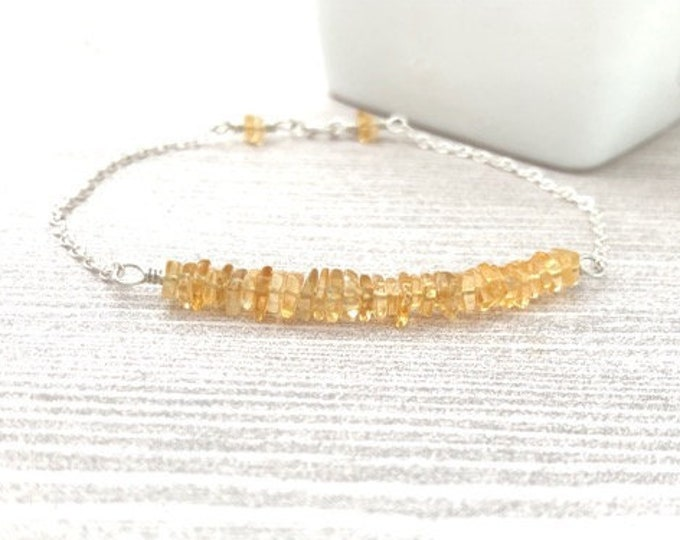 Citrine Gemstone Bar Bracelet